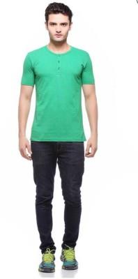 Smilebynature Solid Men's Round Neck Green T-Shirt