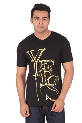Radbone Printed Men's V-neck Black T-Shirt