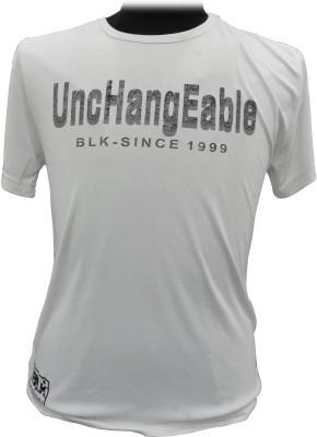 BK Black Solid Men's Round Neck White T-Shirt