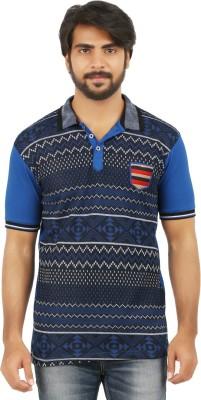 curviva Geometric Print Men's Polo Neck Dark Blue T-Shirt