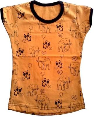 Cool Baby Floral Print Girl's Round Neck Orange T-Shirt