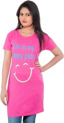 Feminine Printed Women's Round Neck Multicolor T-Shirt