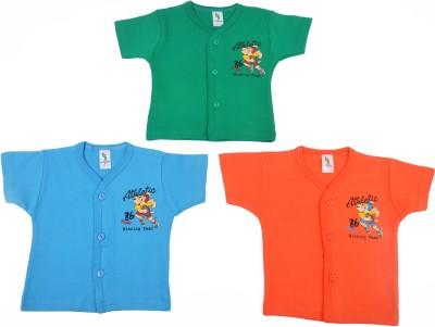 Cucumber Printed Baby Boy's Round Neck Green, Blue, Orange T-Shirt