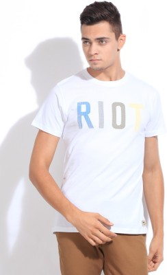 Riot Solid Men's Round Neck White T-Shirt