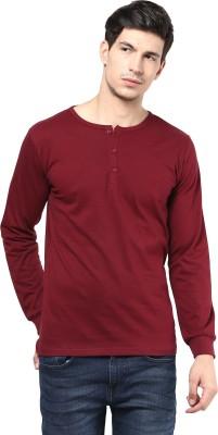 Izinc Solid Men's Henley Maroon T-Shirt