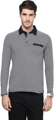 Hypernation Striped Men's Polo Neck Black T-Shirt