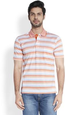ColorPlus Striped Men's Polo Neck Orange T-Shirt