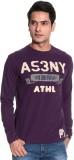 Gasser Solid Men's Round Neck Purple T-S...