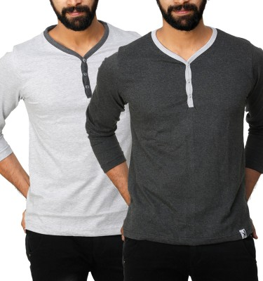 UnKonventional Self Design, Solid Men's Henley Silver, Grey T-Shirt