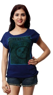 Comix Graphic Print Women's Round Neck Blue T-Shirt