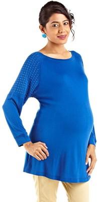 Kriti Western Maternity Solid Women's Round Neck Blue T-Shirt