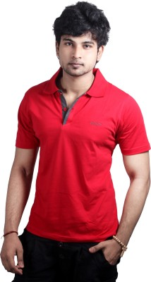 Spur Solid Men's Polo Neck Red T-Shirt