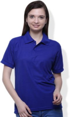 GOINDIASTORE Solid Women's Polo Blue T-Shirt