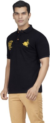 Fazator Embroidered Men's Polo Neck Black T-Shirt