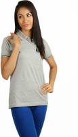 Campus Sutra Solid Women's Polo Neck Grey T-Shirt best price on Flipkart @ Rs. 454
