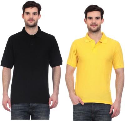 Blue-Tuff Solid Men,s Polo Neck Black, Yellow T-Shirt