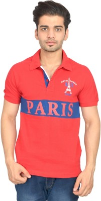 Urban Trail Printed Men's Polo Neck Red T-Shirt