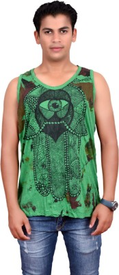 Sure Printed Men's Round Neck Dark Green T-Shirt