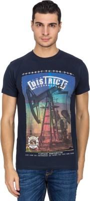 White Square Printed Men's Round Neck Blue T-Shirt
