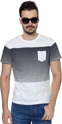 People Striped Men's Round Neck White T-Shirt