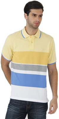 Fahrenheit Striped Men's Polo Neck Yellow, White T-Shirt