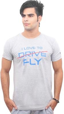 Jazzmyride Graphic Print Men's Round Neck Grey T-Shirt
