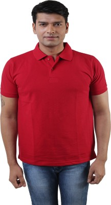 Lee Mark Solid Men's Polo Neck Red T-Shirt