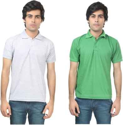 Stylish Trotters Solid Men's Polo Grey, Light Green T-Shirt