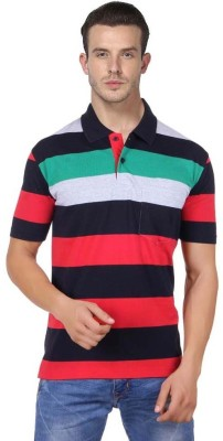 JAYIS Striped Men's Polo Neck Red T-Shirt