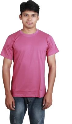Megsto Solid Men's Round Neck Pink T-Shirt