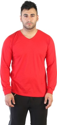 Acomharc Solid Men's V-neck Red T-Shirt