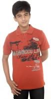Menthol Boys Solid Cotton T Shirt(Orange, Pack of 1)