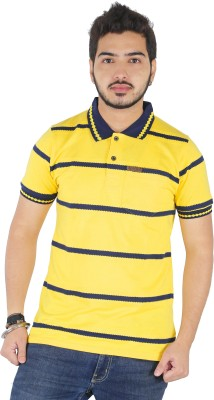 Yellow Dots Striped Men's Polo Neck T-Shirt