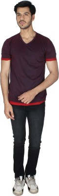 Grapes Plus Solid Men's V-neck Brown T-Shirt