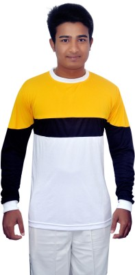 Dyed Colors Solid Men's Round Neck White, Yellow T-Shirt