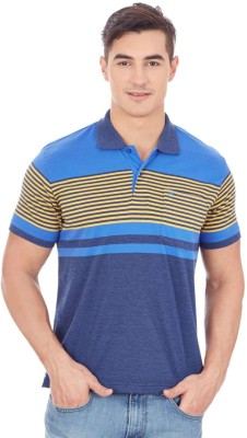 Monte Carlo Striped Men's Polo Neck Blue, Yellow T-Shirt