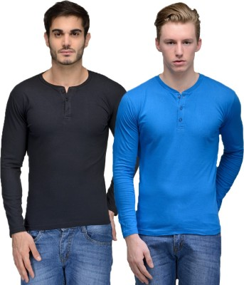 Feed Up Solid Men's Henley Black, Blue T-Shirt