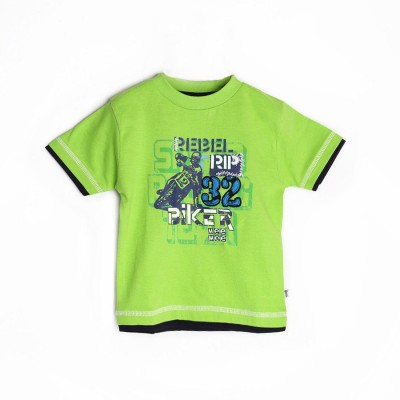 Mee Mee Graphic Print Boy's Round Neck Green T-Shirt