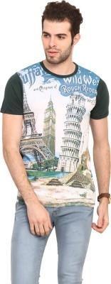 Mode Vetements Printed Men's Mandarin Collar Multicolor T-Shirt