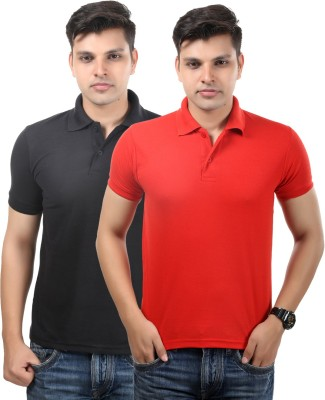 Etoffe Solid Men's Polo Neck Black, Red T-Shirt