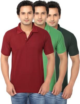 AWA Solid Men's Polo Neck Multicolor T-Shirt