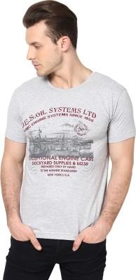 Cherymoya Printed Men's Round Neck Grey T-Shirt