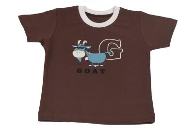 TSG Breeze Printed Baby Girl's Round Neck Brown T-Shirt