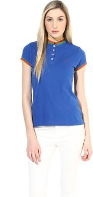 Calgari Solid Women's Polo Blue T-Shirt