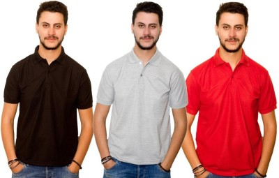 Dreamz Clothing Co Solid Men,s Polo Neck Black, Grey, Red T-Shirt