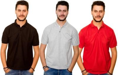 Skitt Clothing Co Solid Men's Polo Neck Black, Grey, Red T-Shirt