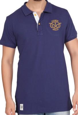 Stoke Solid Men's Polo Neck Dark Blue T-Shirt