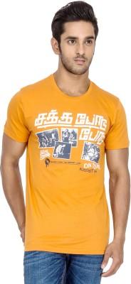 Tee Kadai Printed Men's Round Neck Orange T-Shirt