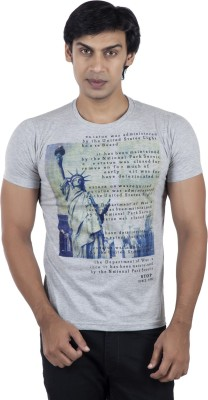 Stop To Start by Shoppers Stop Printed Men,s Round Neck Grey T-Shirt
