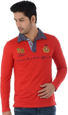 Lawman Solid Men's Polo Neck Red T-Shirt